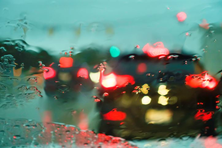 Blurry windshield due to rain